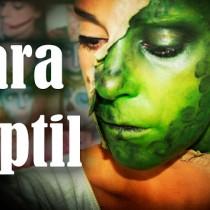 Maquillaje Halloween Media cara reptil Reptile half face makeup Silvia Quiros