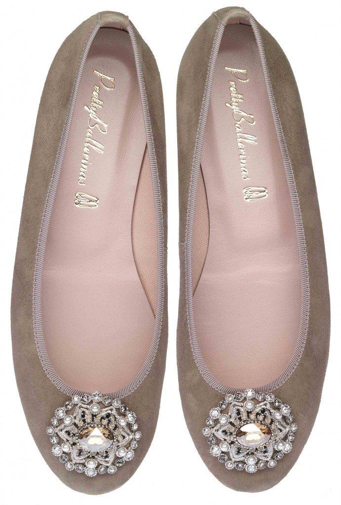 Marilyn beige suede with jewelled broach - pair