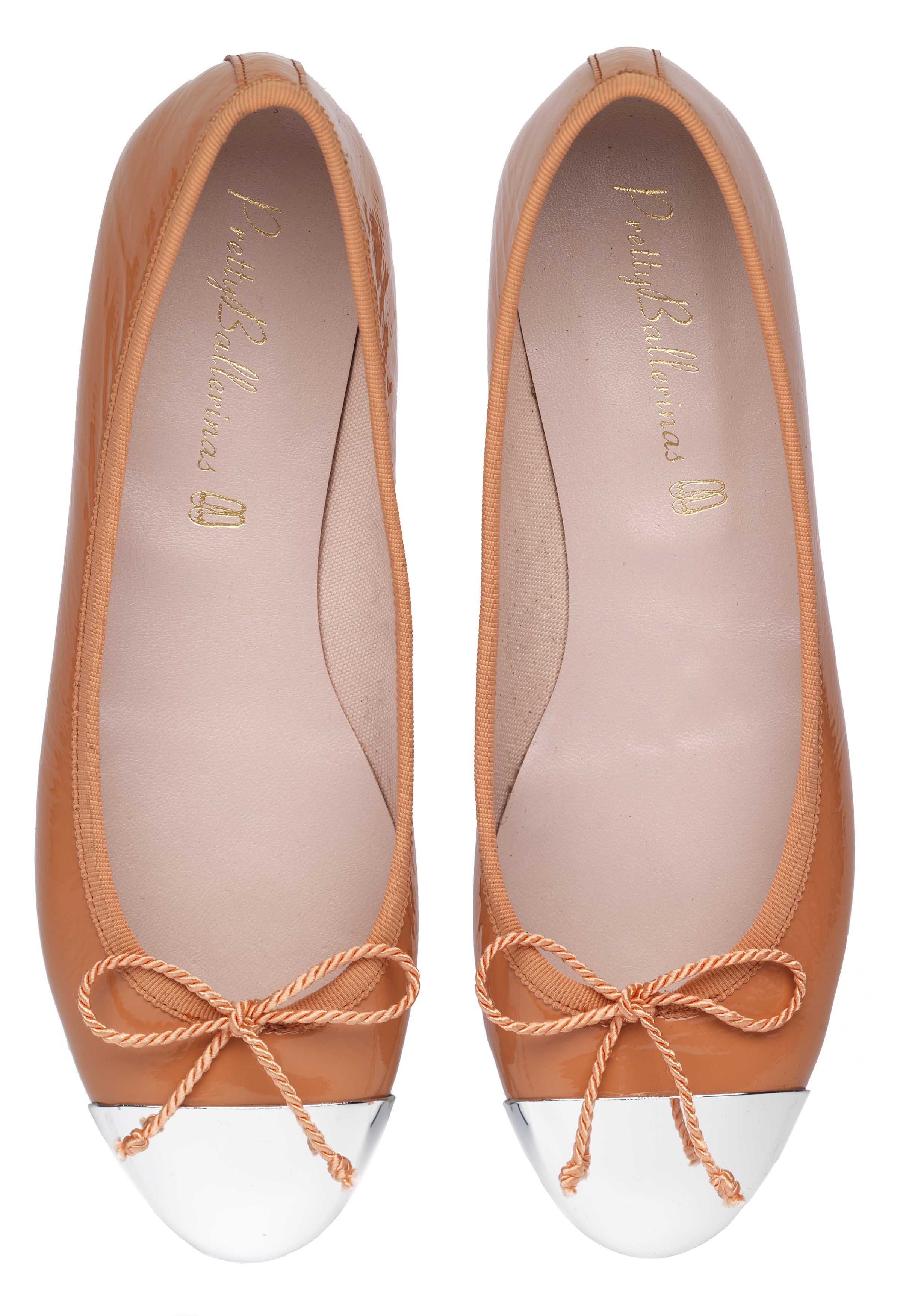 Nicole solid metal tip peach patent - pair