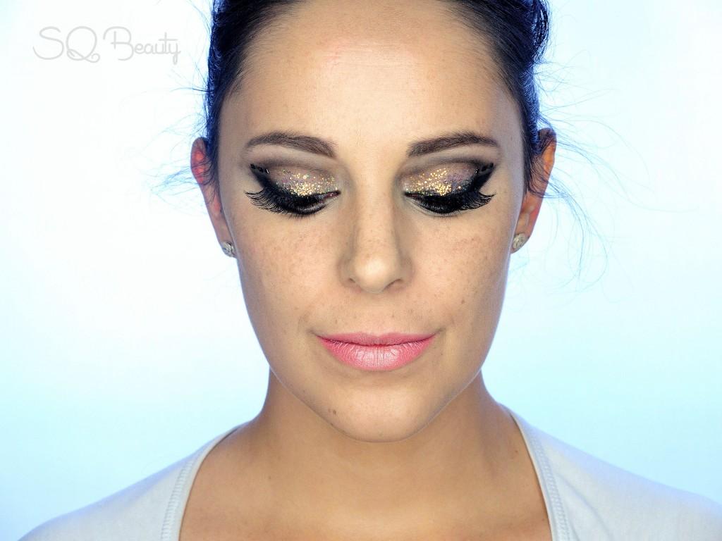 Tutorial Maquillaje Navidad purpurina y piedras