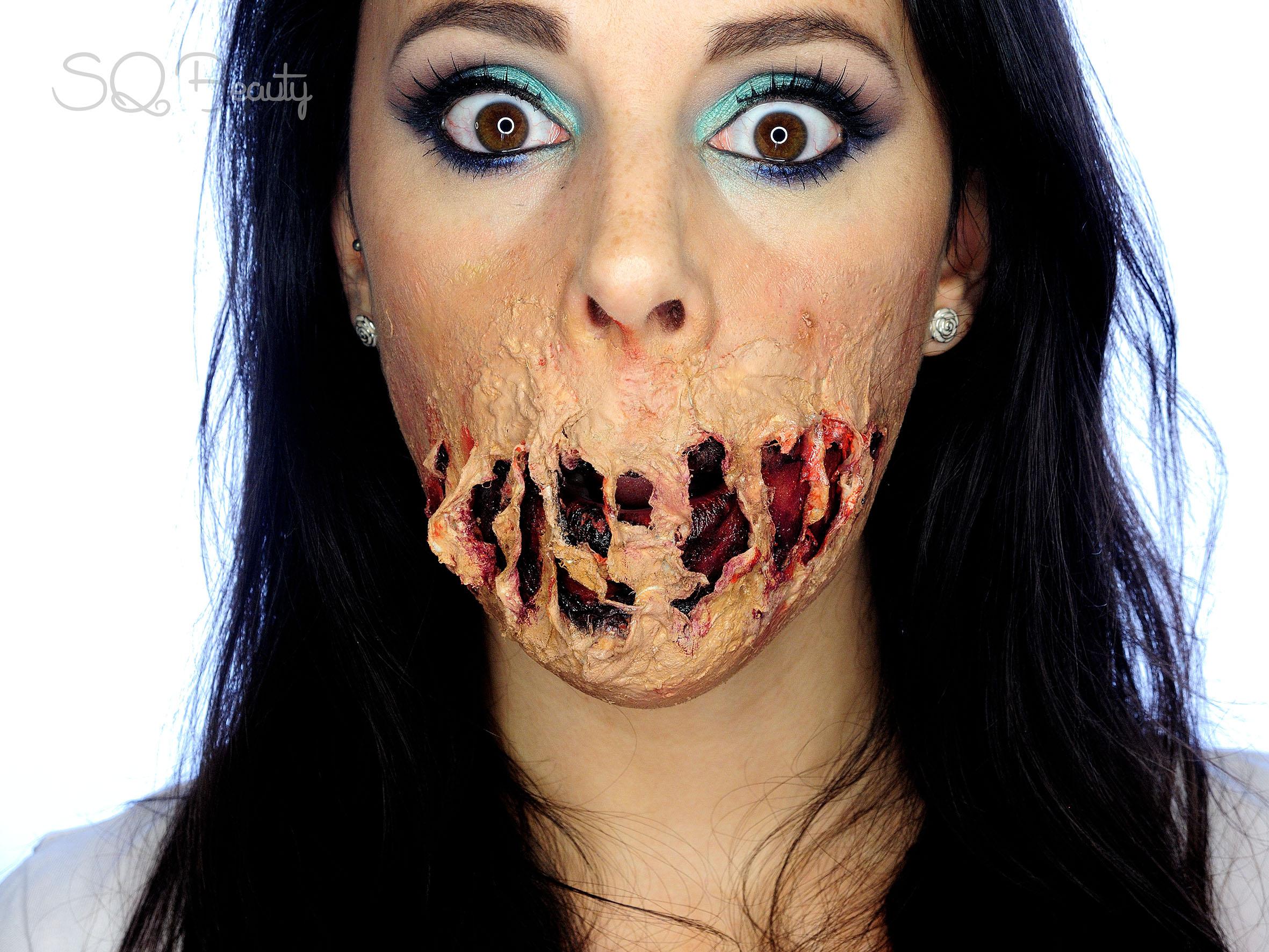 tutorial maquillaje efectos especiales boca derretida