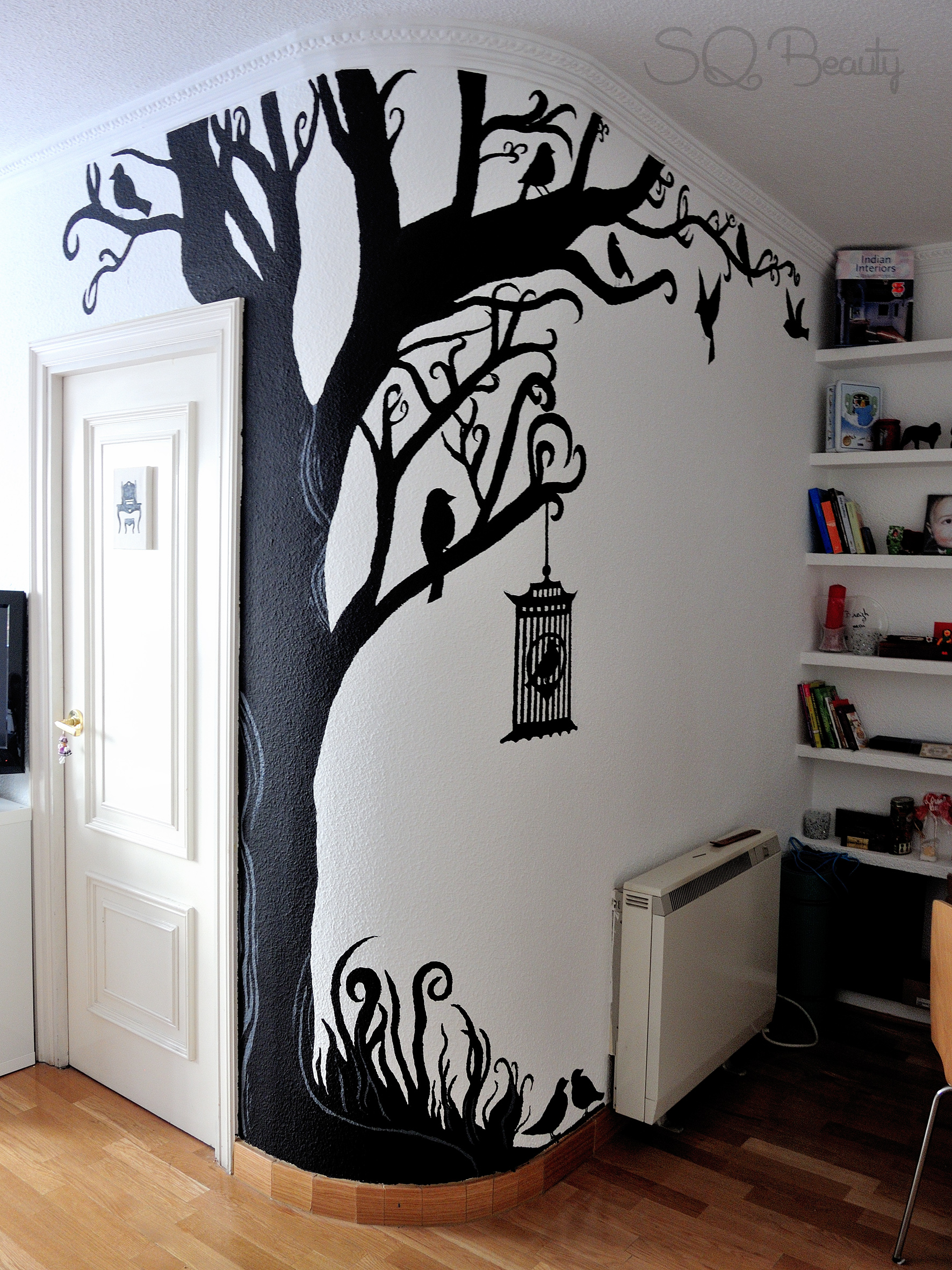 Diy tree wall mural silvia quir s for Arbol de navidad mural