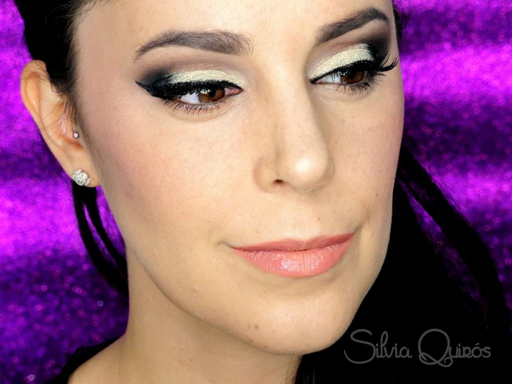 Maquillaje purpurina dorada para Navidad tutorial