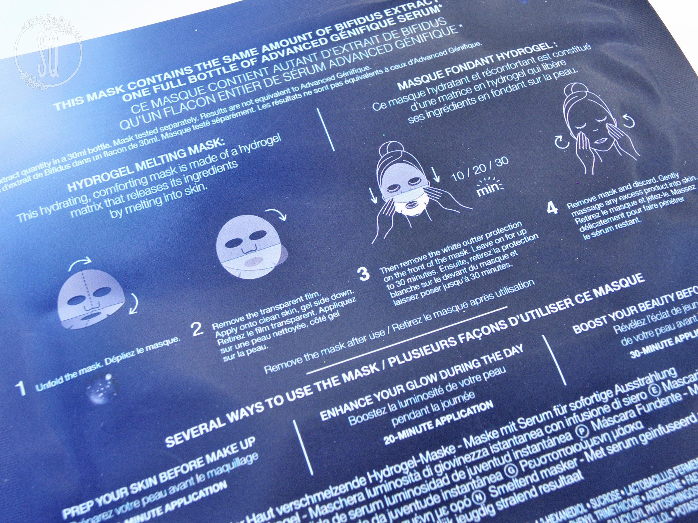 Mascarilla Advanced Génifique mascarilla fundente hidragel efecto flash de Lancome