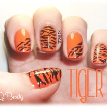 Manicura tigre, tiger manicure Silvia Quiros Nail Friday